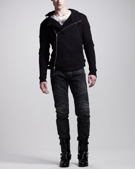 Balmain Zip Moto Hoodie, Lion Head Tee, Braided Belt & Quilted Biker Jeans