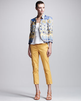 Philosophy di Alberta Ferretti Printed Sateen Blazer, Poplin Peplum Top & Stretch-Gabardine Cropped Pants
