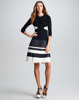 Jil Sander Navy Geographic Cardigan & Striped Border Silk Skirt
