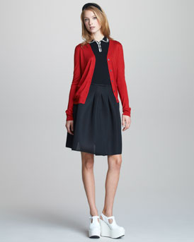 Jil Sander Navy Cardigan, Sleeveless Polo, Sporty Mesh-Weave Skirt & Leather Headband