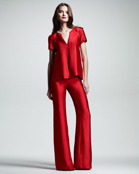 Wes Gordon Crushed Satin Tee & Flare Pants