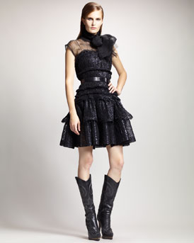 Lanvin Sheer Tie-Neck Blouse, One-Piece Bodysuit & Tiered Crinoline Dress