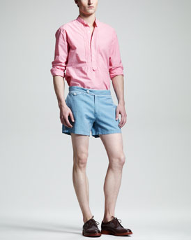 Michael Bastian Striped Chambray Placket Shirt & Bellport Piped Shorts