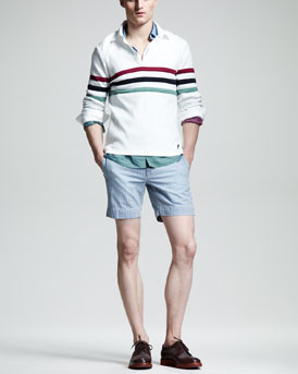 Michael Bastian Striped Rugby Shirt & Side-Buckle Shorts