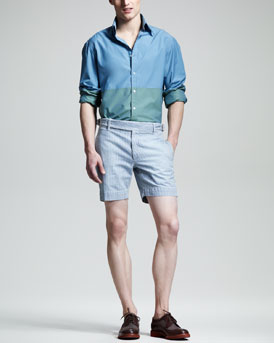Michael Bastian Colorblock Sport Shirt & Striped Side-Buckle Shorts