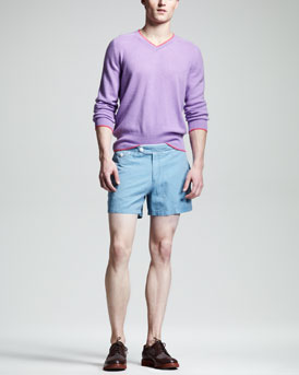Michael Bastian Tipped Cashmere Sweater & Bellport Piped Shorts