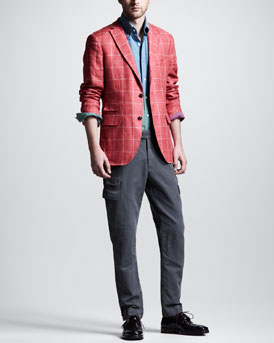 Michael Bastian Windowpane Check Blazer, Colorblock Sport Shirt & Slim Cargo Pants