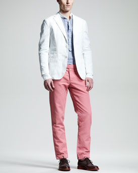 Michael Bastian Garment-Dyed Cotton-Linen Blazer, Contrast-Collar Chambray Shirt & Garment-Dyed Cotton-Linen Pants