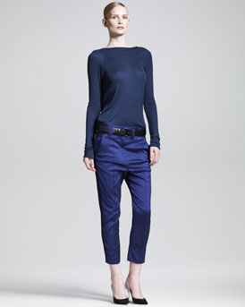 Haider Ackermann Plunging-Back Top, Slouchy Cropped Pants & Convertible Leather Belt