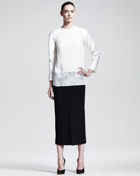 Haider Ackermann Silk Lace-Hem Blouse & Below-the-Knee Front-Slit Skirt