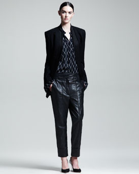 Haider Ackermann Reverse Lapel Jacket, Harlequin-Print Blouse & Slouchy Leather Pants