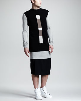 Rick Owens Stripe-Insert Cotton Vest, Basic Long-Sleeve Tee & Loinpods Shorts