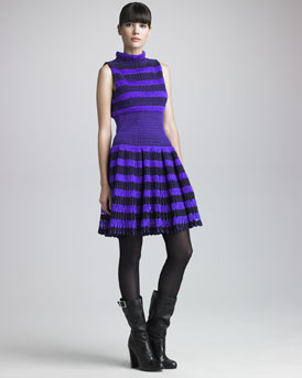 Maison Rabih Kayrouz Striped Thick-Mesh Dress