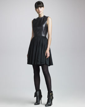Maison Rabih Kayrouz Leather-Bodice Dress