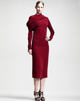 Haider Ackermann Draped Long-Sleeve Silk Dress