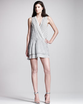 Proenza Schouler Printed Georgette Drop-Waist Dress