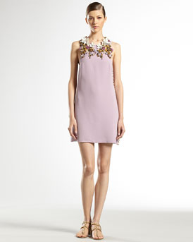 Gucci Hand-Embroidered Floral Silk Sleeveless Dress