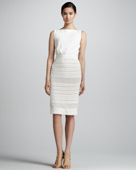 Giambattista Valli Sleeveless Knit Dress with Lace Bottom