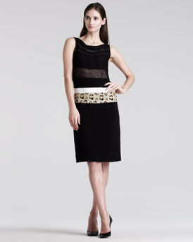 Giambattista Valli Sleeveless Mixed-Media Dress