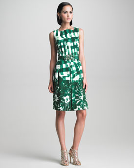 Oscar de la Renta Check and Floral Print Dress