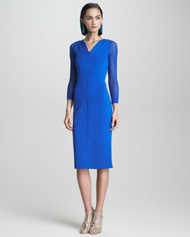 Oscar de la Renta Lace-Sleeve Dress