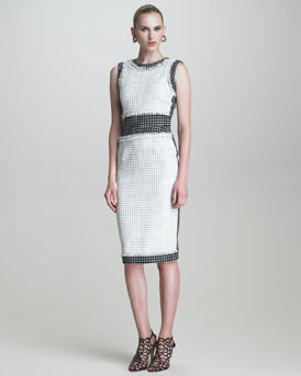 Oscar de la Renta Check Tweed Sheath Dress