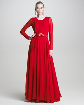 Oscar de la Renta Pleated Long-Sleeve Chiffon Gown