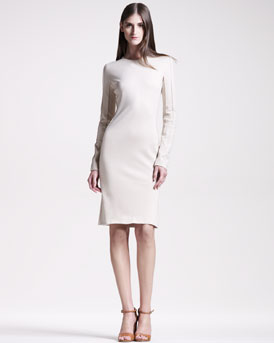 Maison Martin Margiela Seamed Jersey Long-Sleeve Sheath Dress