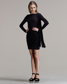 Stella McCartney Fringed Long-Sleeve Dress
