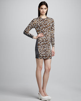 Stella McCartney Leopard-Front Check-Back Shift Dress