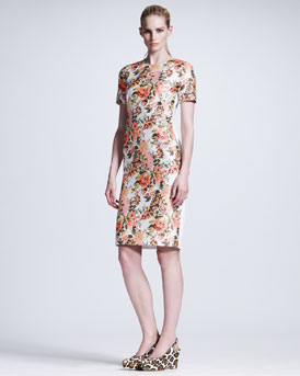 Stella McCartney Floral-Front Short-Sleeve Dress