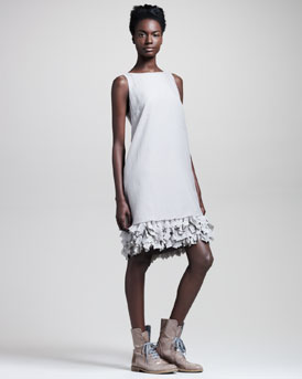 Brunello Cucinelli Butterfly-Hem Organza Dress