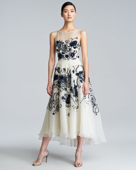 Lela Rose Floral-Embroidered Silk Chiffon Dress