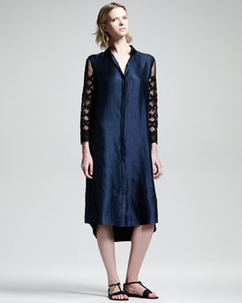 THE ROW Embroidered-Sleeve Shirtdress