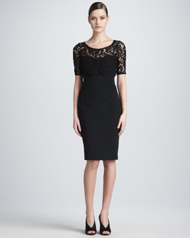 Burberry London Lace-Top Half-Sleeve Sheath Dress