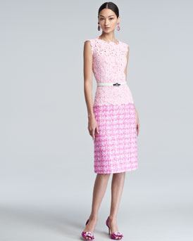 Oscar de la Renta Lace Tweed Combo Dress, Pink