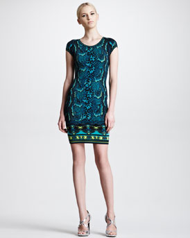 Roberto Cavalli Short-Sleeve Snake-Print Sheath Dress, Turquoise