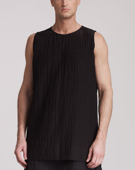 Rick Owens Sleeveless Line-Graphic Shirt