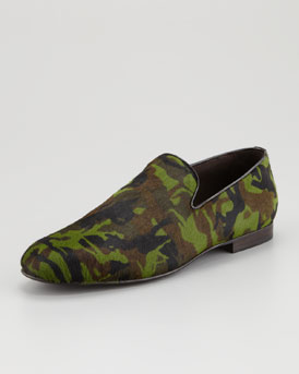 Jimmy Choo Sloane Men's Calf Hair Slipper, Camo