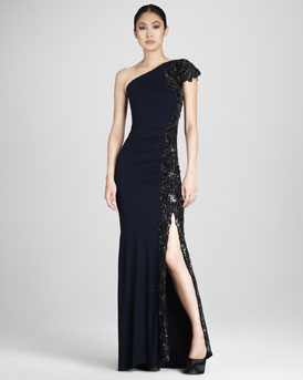 Badgley Mischka Couture Beaded One-Shoulder Gown