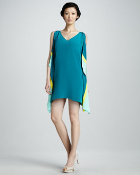 Jay Godfrey Colorblock Sleeveless Kimono Dress