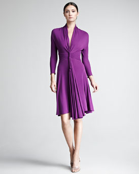 Chado Ralph Rucci Plunge-Neck Jersey Dress