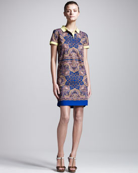Carven Kaleidoscope-Print Polo Dress