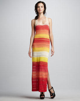 Haute Hippie Knit Striped Racerback Maxi Dress