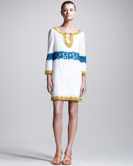 Philosophy di Alberta Ferretti Embroidered Muslin Tunic Dress