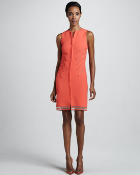 Chado Ralph Rucci Zip-Front Wool Crepe Dress