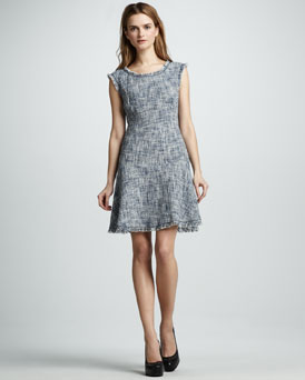 Rebecca Taylor Frayed Fit-and-Flare Dress