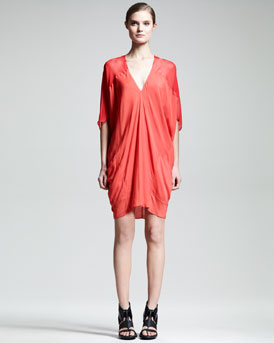 Helmut Lang Oasis Draped V-Neck Dress