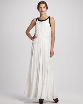 Rachel Zoe Braden Pleated Two-Tone Gown