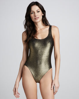 Marie France Van Damme Milady Nageur Textured Metallic One-Piece Swimsuit